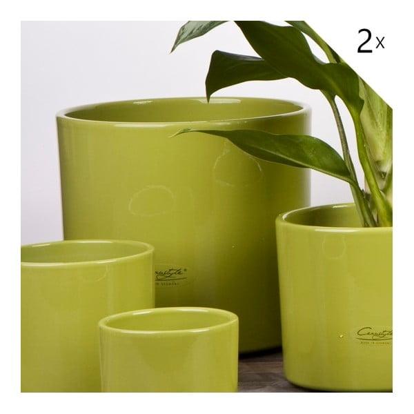 Sada 2 zelených květináčů Ovale, 17 cm