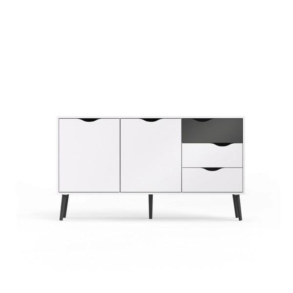 Comodă cu 3 sertare şi detaliu negru Evergreen House Delta, alb
