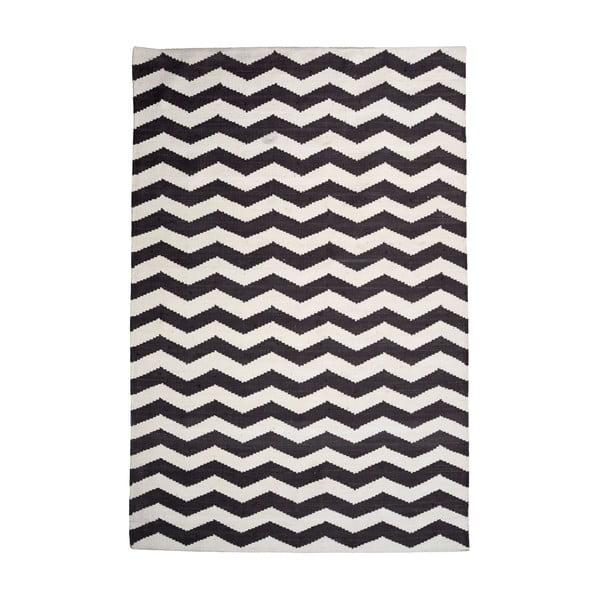 Bavlněný koberec Chevron Ivory/Black, 160x230 cm