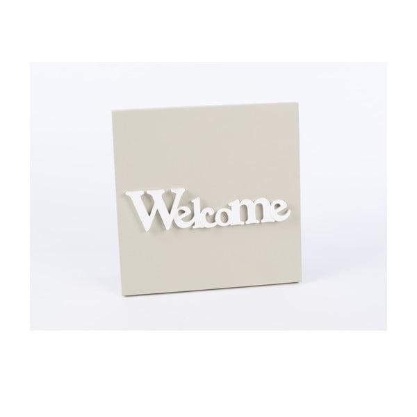Dřevěný obraz Welcome 30x30 cm, béžový