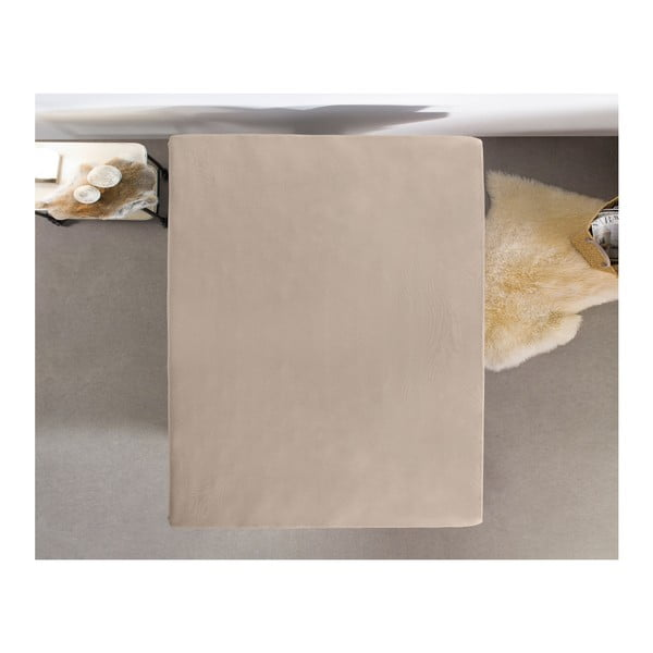 Hnědé flanelové prostěradlo Zensation, 160 x 200 cm