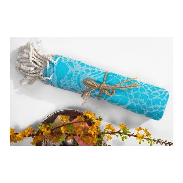 Modrá hammam osuška z bavlněných a bambusových vláken Begonville Lace, 180x95cm