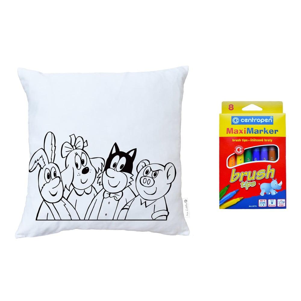 Set povlaku na polštář z bavlněného saténu a omyvatelných fixů na textil Čtyřlístek by Mr. Little Fox Čtyřlístek, 50x50cm