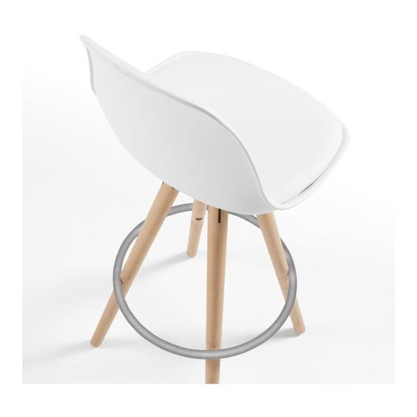 Scaun de bar cu picioare din lemn Forma Stag, alb