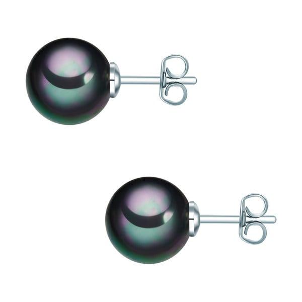 Perlové náušnice Muschel, antracitová perla  ⌀ 1 cm