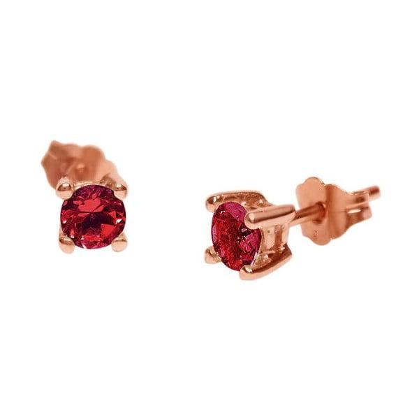 Náušnice Four Prong s rubínem, růžové zlato