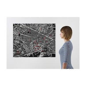 Černá nástěnná mapa Palomar Pin Barcelona