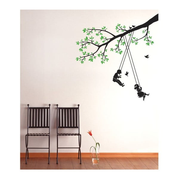 Samolepka Children Swinging in a Tree