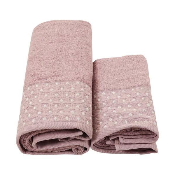Set 2 fialových ručníků a županu z čisté bavlny King, vel. M/L