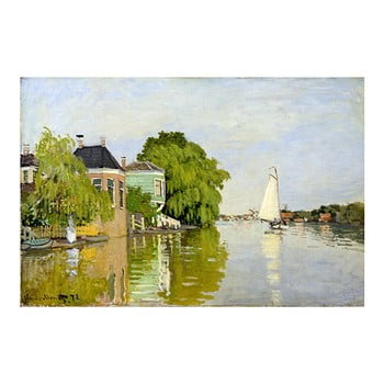 Reproducere pe pânză după Claude Monet – Houses on the Achterzaan, 90 x 60 cm de la Fedkolor