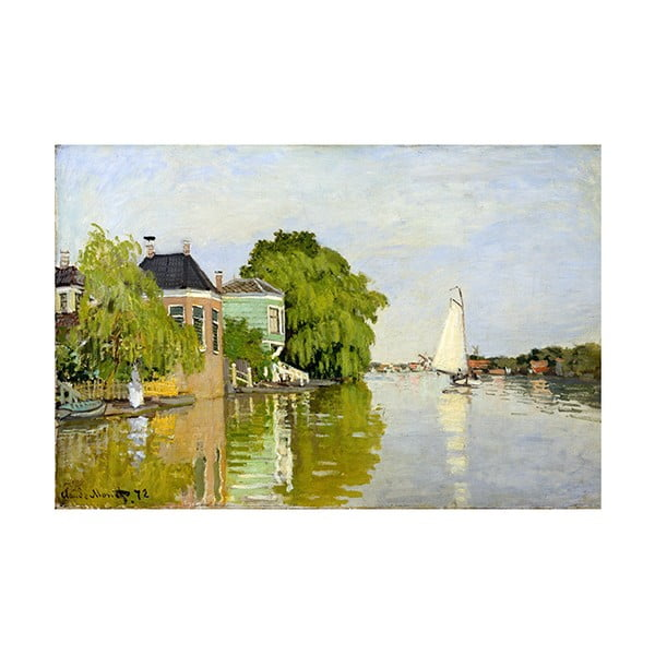 Claude Monet - Houses on the Achterzaan kép másolat, 90 x 60 cm