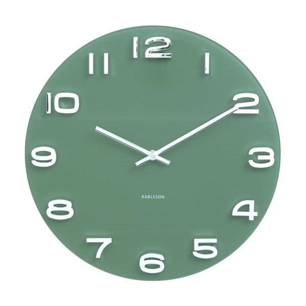 Zelené hodiny Karlsson Vintage, ø35 cm