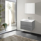 Koupelnová skříňka s umyvadlem a zrcadlem Flopy, odstín šedi, 60 cm