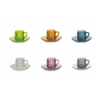 Set 6 cești pentru cafea cu farfurie Villa d'Este Diamond, colorate imagine
