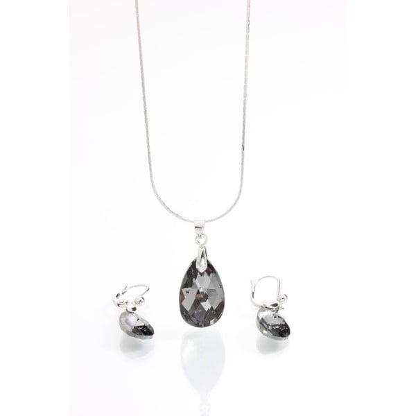 Set náhrdelníku a náušnic Yasmine Clear Dark