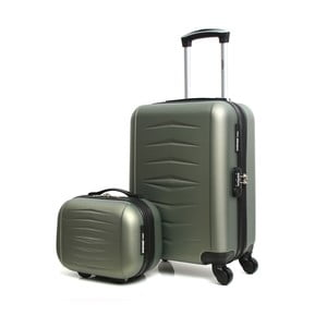 Set šedého cestovního kufru na kolečkách a kufříku INFINITIF
