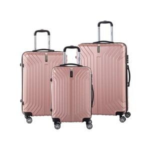 Sada 3 světle růžových cestovních kufrů na kolečkách se zámkem SINEQUANONE