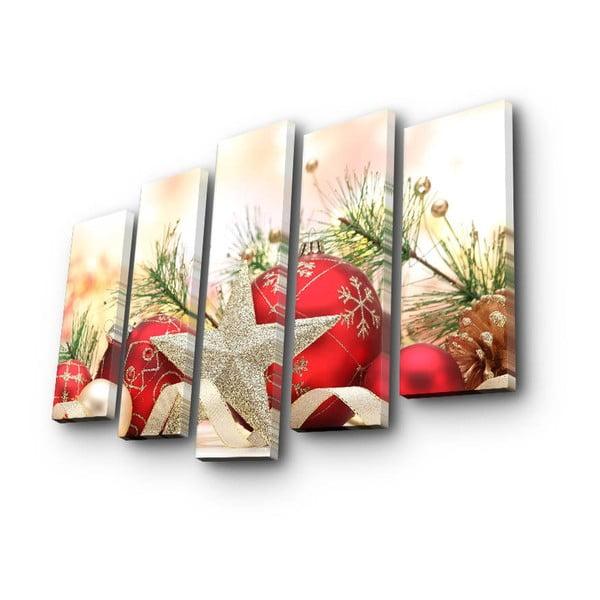 Pětidílný obraz Christmas Ornament, 105x70 cm