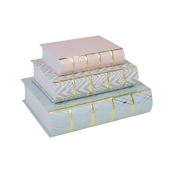 Sada 3 úložných boxů ve tvaru knihy Stockholm