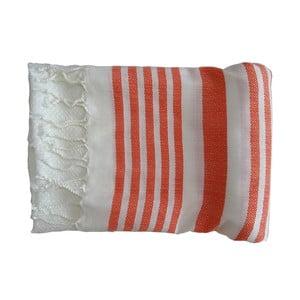 Prosop țesut manual din bumbac premium Petek, 100 x 80 cm, roșu - alb