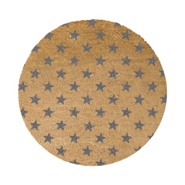 Šedá kulatá rohožka z přírodního kokosového vlákna Artsy Doormats Stars, ⌀70cm