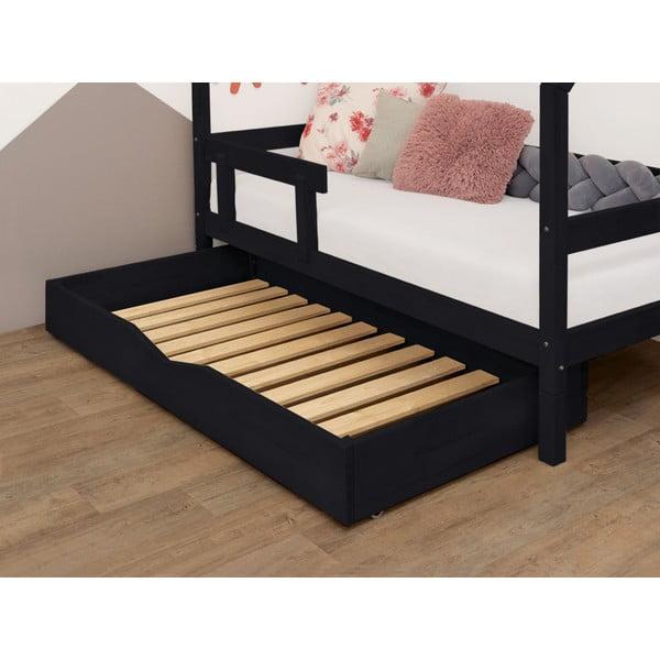 Czarna drewniana szuflada pod łóżko ze stelażem i wypełnionym dnem Benlemi Buddy, 70x140 cm