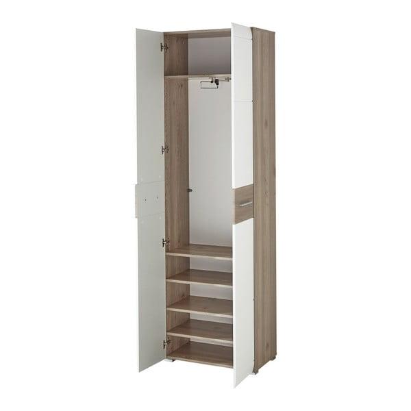Bílá šatní skříň s detaily v dekoru dubového dřeva Germania Malou