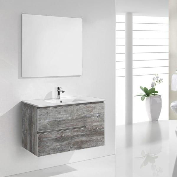 Koupelnová skříňka s umyvadlem a zrcadlem Happy, vintage dekor, 80 cm