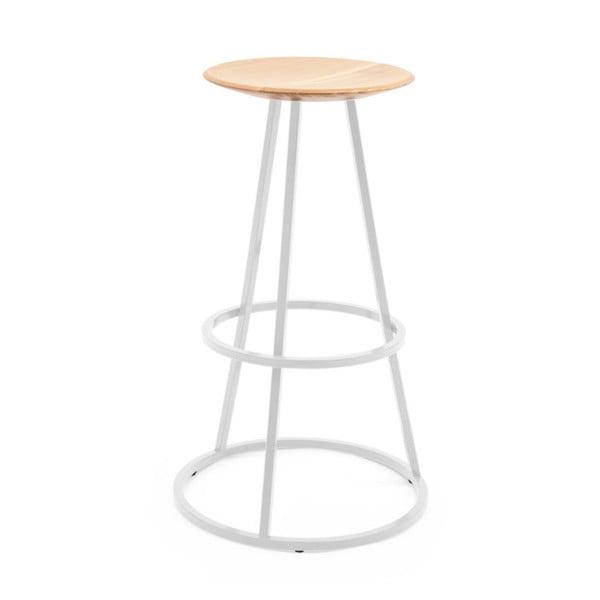 Barová stolička s dubovou deskou a světle šedou kovovou konstrukcí HARTÔ Gustave, výška 77 cm