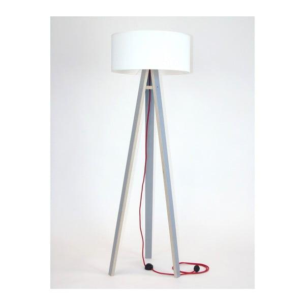 Wanda szürke állólámpa, fehér búrával és piros kábellel - Ragaba