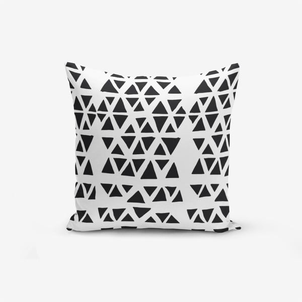Față de pernă cu amestec din bumbac Minimalist Cushion Covers Black Triangle Modern, 45 x 45 cm