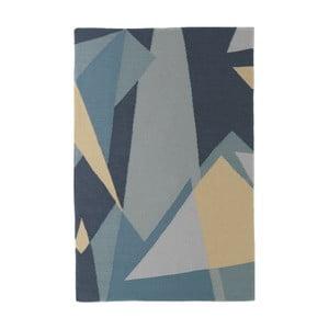 Ručně tkaný modrý vlněný koberec se žlutými detaily Art For Kids Graphic, 160x230cm