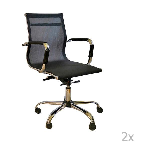Zestaw 2 czarnych krzeseł biurkowych na kółkach Evergreen House Dally
