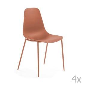 Sada 4 tmavě oranžových jídelních židlí La Forma Wassu