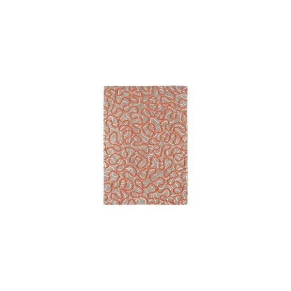 Vlněný koberec Squiggle Orange, 120x170 cm