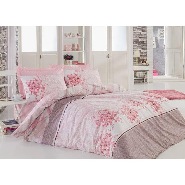 Lenjerie de pat cu cearșaf din bumbac Sonya Powder, 200 x 220 cm