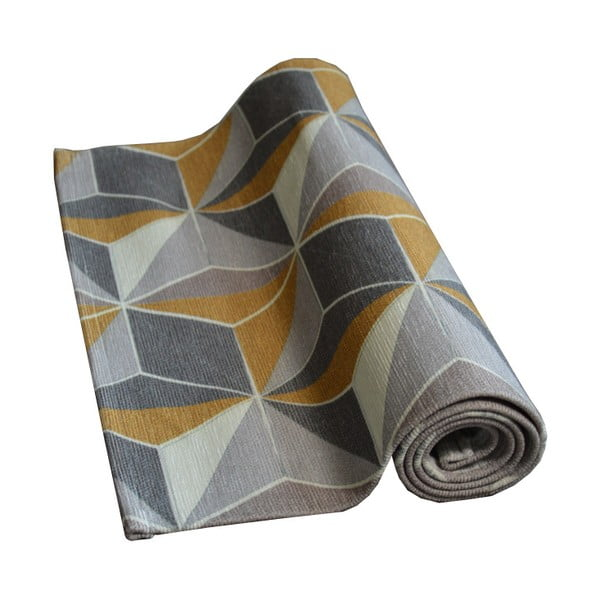 Covor Floorita Dice Grey Ochre, 60 x 240 cm