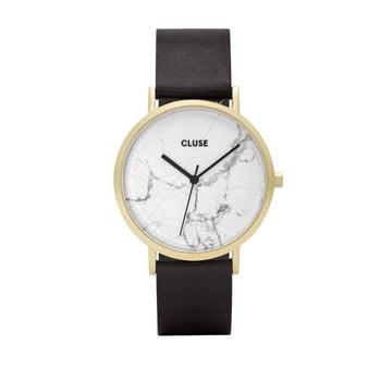 Ceas damă cu curea din piele şi cadran alb marmorat Cluse La Roche Star, negru de la Cluse