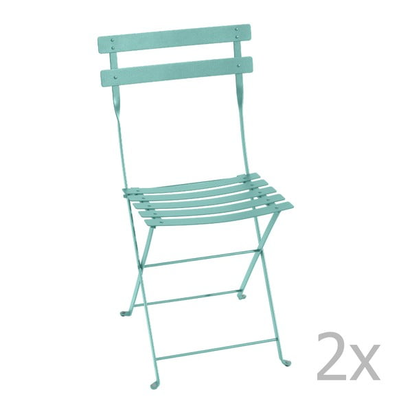 Sada 2 nebesky modrých skládacích židlí Fermob Bistro