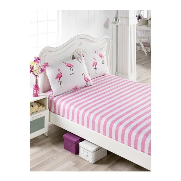 Set bavlněného růžového prostěradla a 2 povlaků na polštáře na jednolůžko Flamingos, 100 x 200 cm