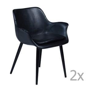 Sada 2 černých jídelních židlí s područkami DAN– FORM Combino