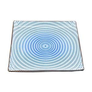 Porcelánový hranatý talíř Blue Stripe, 23 cm
