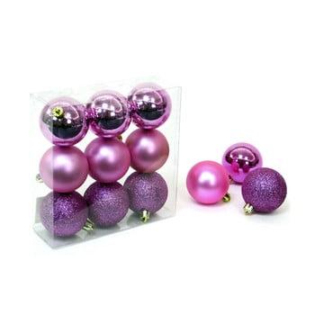 Set 9 decorațiuni de Crăciun Unimasa Caja, roz - violet imagine