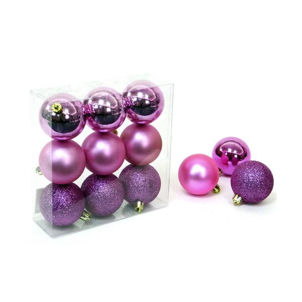 Set 9 decorațiuni de Crăciun Unimasa Caja, roz - violet