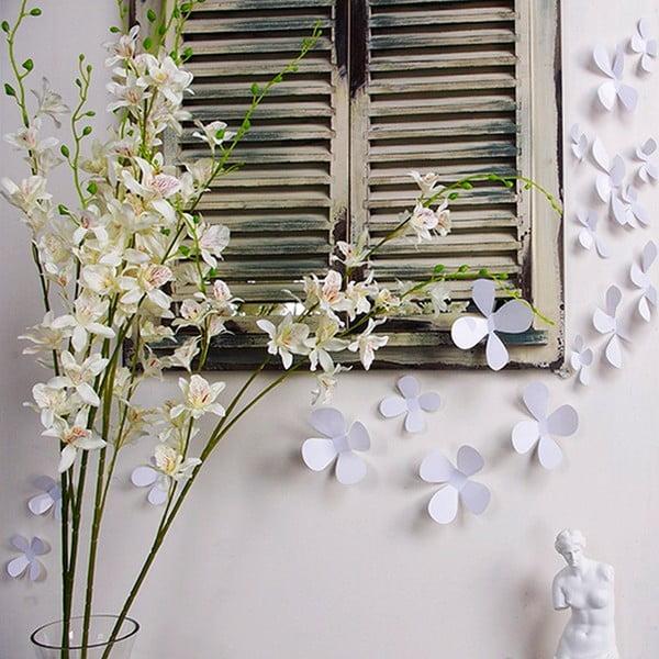 Flowers fehér 3D hatású 12 darabos öntapadós matricaszett - Ambiance