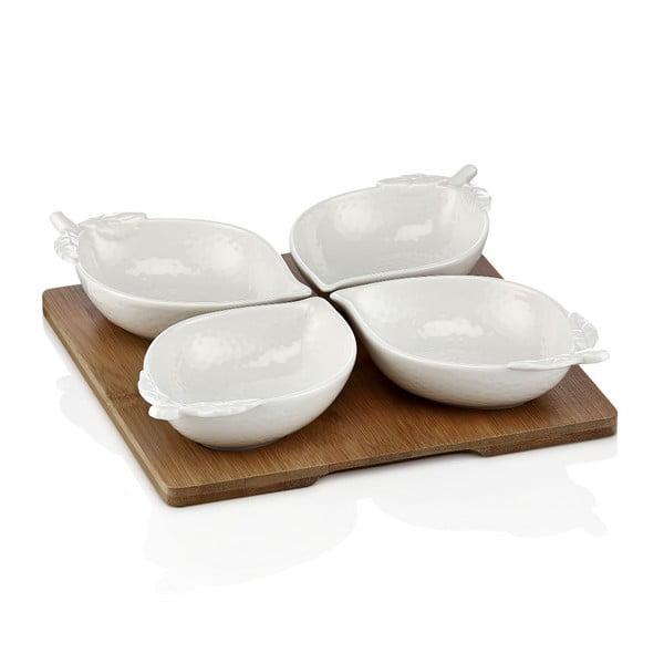 Sada 4 porcelánových misek s podnosem Elegance
