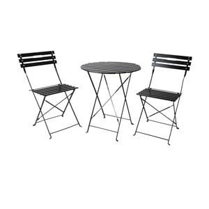 Zahradní posezení (stolek, 2 židle), černé