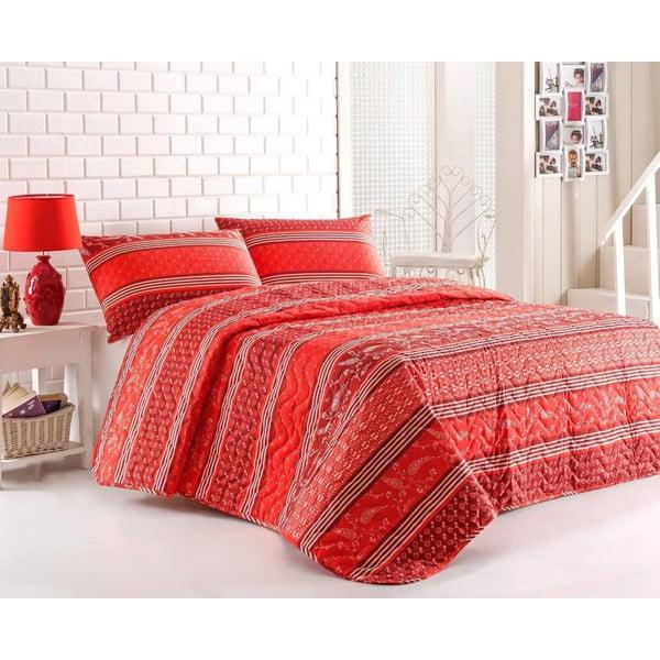 Sada prošívaného přehozu přes postel a dvou polštářů Double 426, 200x220 cm
