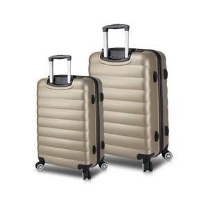 Sada 2 cestovních kufrů na kolečkách s USB porty ve zlaté barvě My Valice RESSNO Cabin & Medium