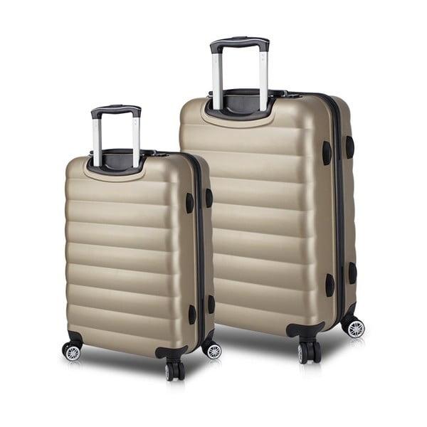Set 2 valize cu roți și port USB My Valice RESSNO Cabin & Medium, auriu
